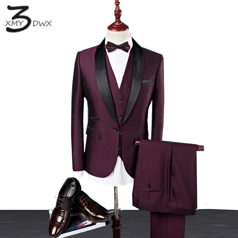 XMY3DWX (jackets+vest+pants) men Premium brand Pure cotton stage show business BLAZERS/Men formal career three-piece suit S-4XL
