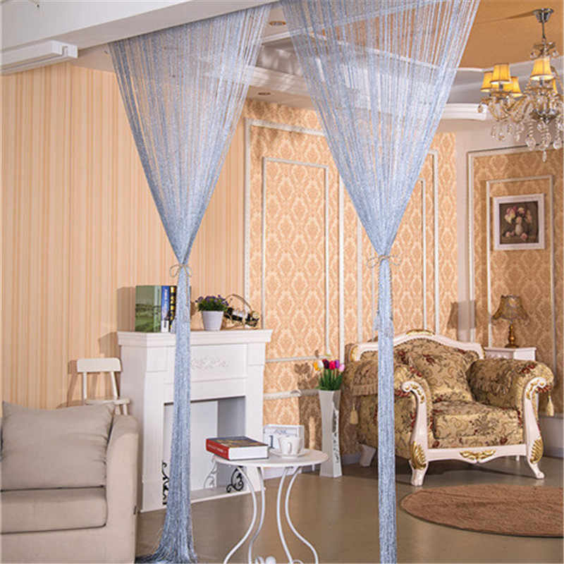 Home Decoration 100x200cm Shiny Tassel Flash Silver Line String Curtain Window Door Divider Sheer Curtain Valance Door Treatment