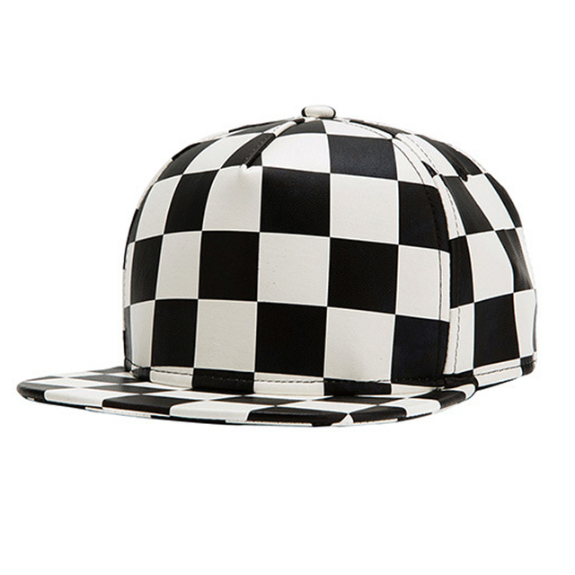 2017 New Black White Plaid Cap Hip Hop Pu Leather Grid Cool Casual Flat Bsaeball Caps Gorras Snapback Hats For Men Women