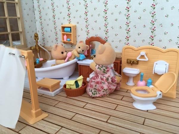 suit for Sylvanian Family figure Bath room set mini furniture pretend toy gift