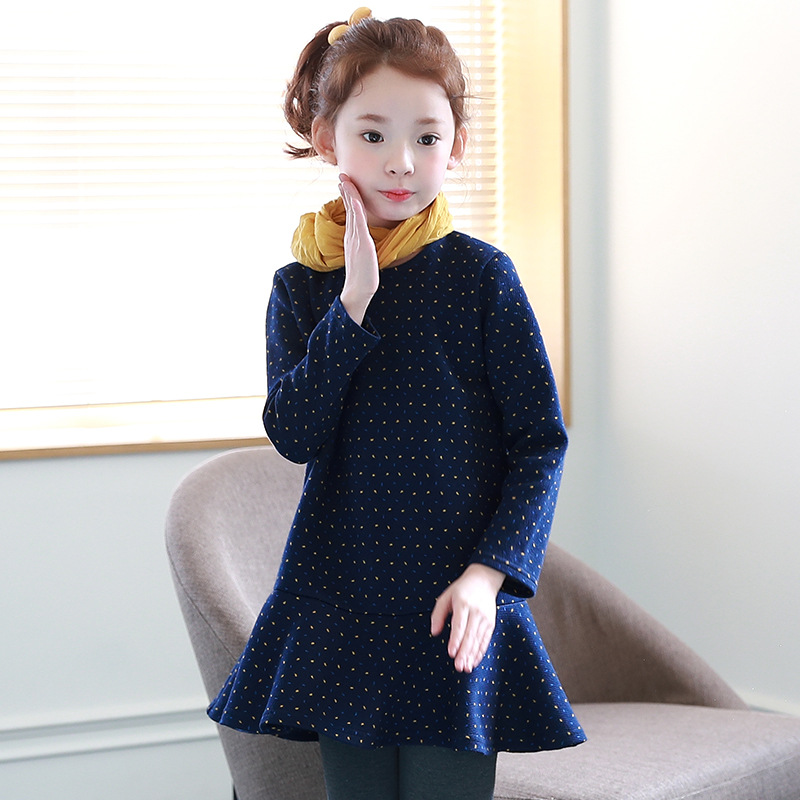 Girl Princess Dress Kids Autumn Long Sleeve Cotton Evening Dresses Dot Party Baby Girls Dress  2-14Y Costume Children Clothes new 2017 baby girls ruffle sweater dress kids long sleeve princess party christmas dresses autumn toddler girl children clothes