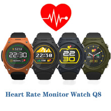 Heart Rate Monitor Watch Q8 for Iphone Samsung HTC Huawei Xiaomi Android Phone Sport Smartwatch Wristwatch with G-sensor Compass