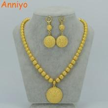 Anniyo bola grânulos colar brincos conjuntos de jóias para as mulheres cor do ouro etíope africano oração redonda grânulo colares árabe #033606