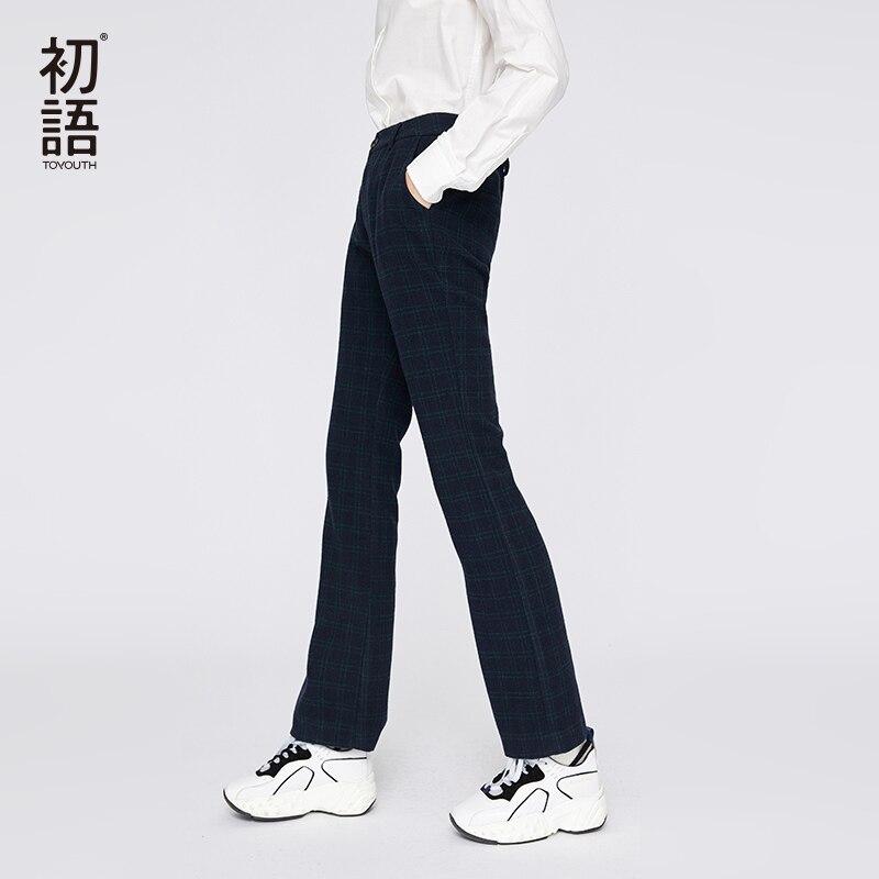 Toyouth Повседневное уличная теплые штаны Для женщин осень кнопка брюки Mujer Pantalones плед свободные штаны Oversize Femme брюки 2018