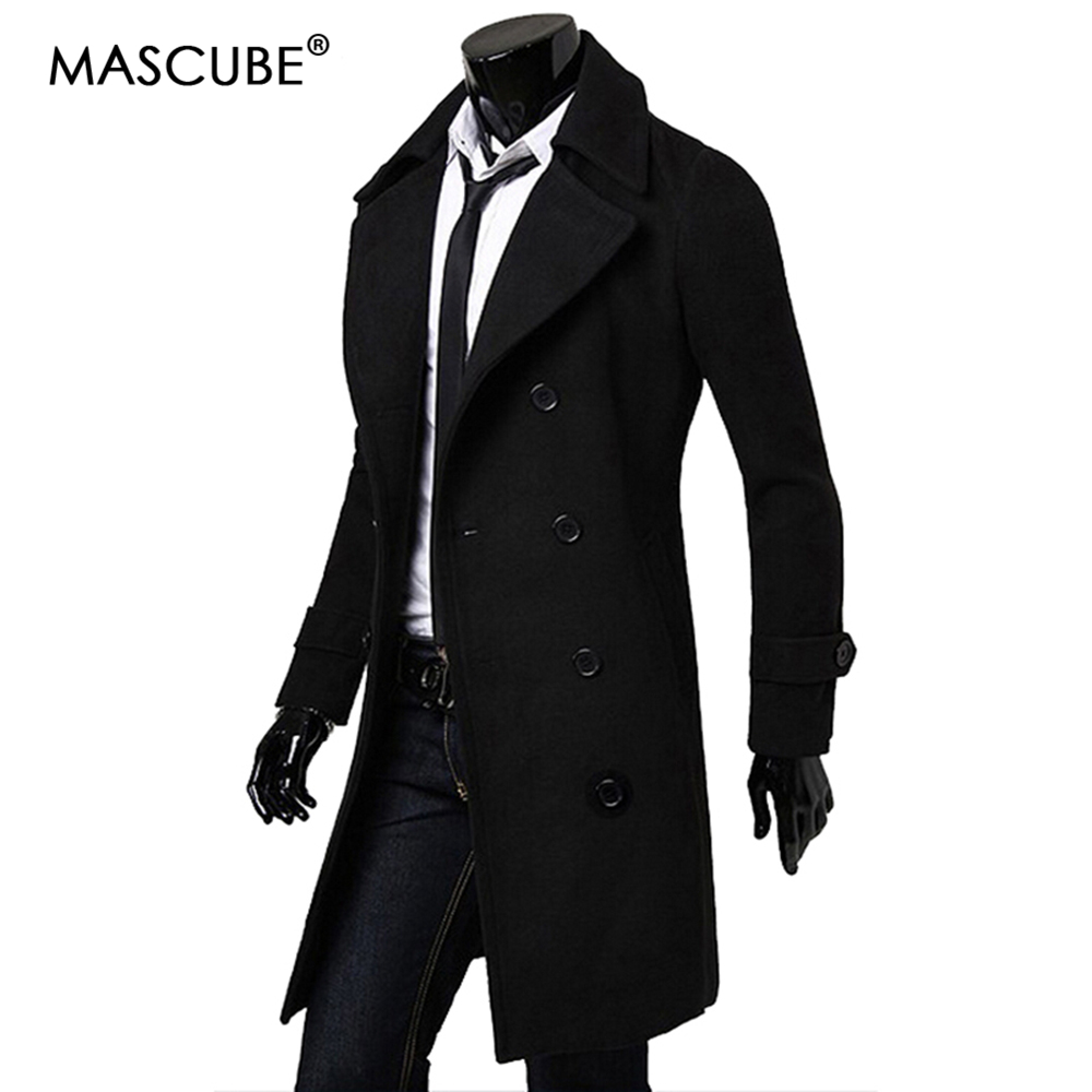 1a14798d9f3 MASCUBE 2018 New Brand Men Wool Coats Top Quality Wool Blends Long Overcoat  Male Winter Pea Coat Drop Shipping