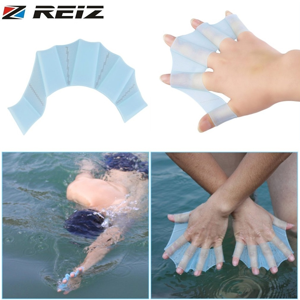 REIZ 1 Pair Silicone Swimming Hand Fins Flippers Palm Finger Webbed Gloves Paddle Silicone Reusable For Beginners Blue 3 Size