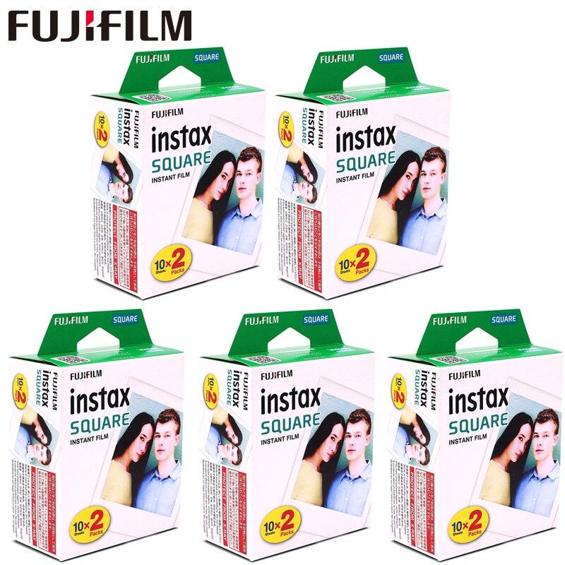 Fujifilm Instax carré blanc bord noir Films papier Photo (10-100 pièces) pour Instax SQ10 SQ6 imprimante de SP-3 de partage de caméra instantanée