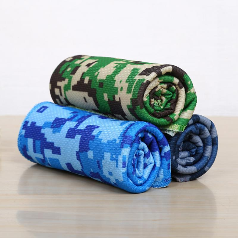 1Pcs Outdoor Sports Camouflage Printing Yoga Fitness Fitness Heatstroke Cold Towel 90*30cm