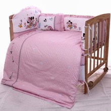 Promotion 7pcs Mickey Mouse baby bedding set 100 cotton cartoon crib bumper baby cot bedding sets