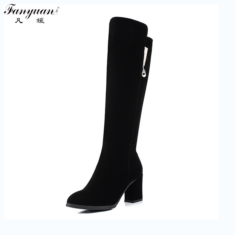 цена New 2017 Autumn/Winter Women Mid-Calf Boots Side Zip Sqaure Heel Solid Fashion Boots Round Toe Lady Long Boots