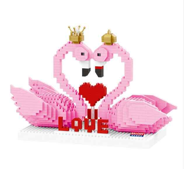Mini bricks toy Cute Pink Flamingo Cartoon Auction Figures Anime Bird Nano building Bricks early education toy holiday gifts