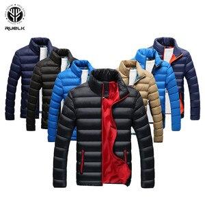 Image 1 - RUELK 冬のジャケットの男性 2019 ファッションスタンド襟男性パーカージャケットメンズ固体厚手のジャケットとコートの男冬パーカー m 6XL