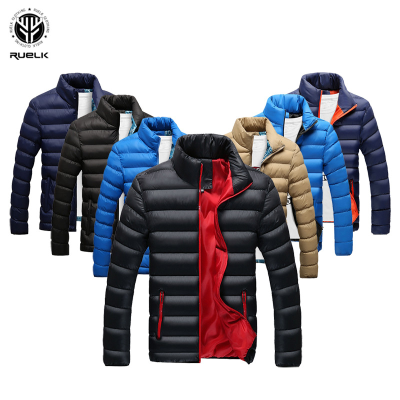 RUELK Winter Jacket Men 2019 Fashion Stand Collar Male Parka Jacket Mens Solid Thick Jackets and Coats Man Winter Parkas M 6XL-in Parkas from Men's Clothing