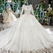 LSS512 ball gown Wedding Dresses with long sleeves o-neck like white wedding train factory reality robe de mariee 2019