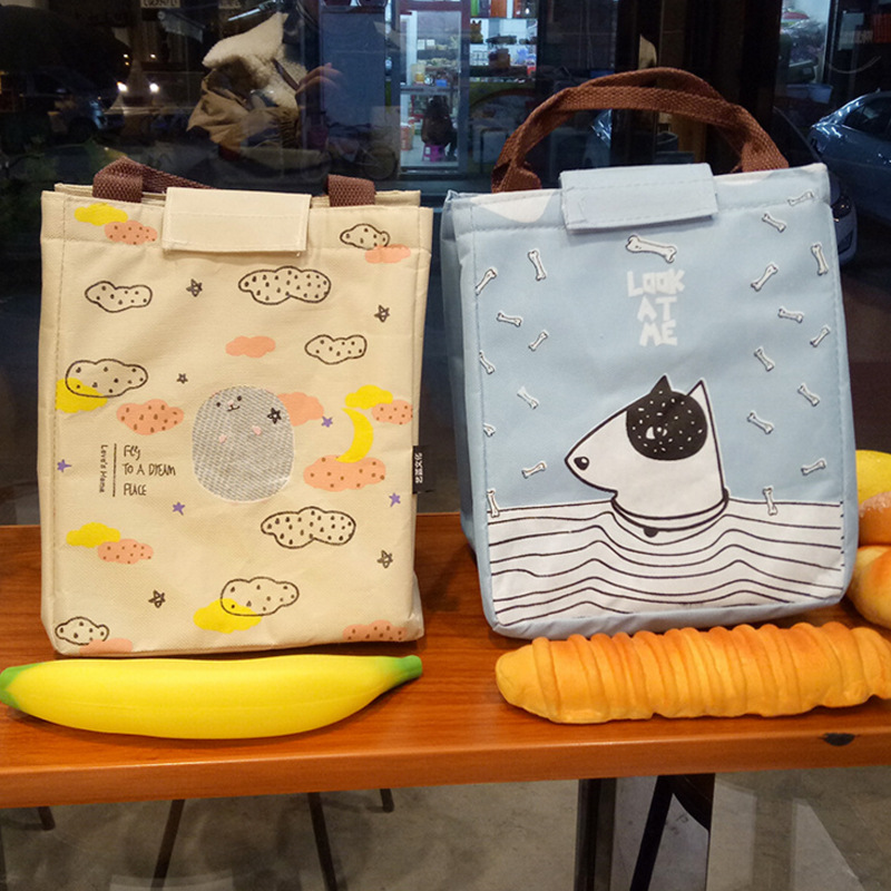 eTya Women Portable Lunch Bag Canvas Cartoon Cute Cat Insulated Cooler Bags Thermal Food Picnic Lunch Bags Kids Lunch Box Tote