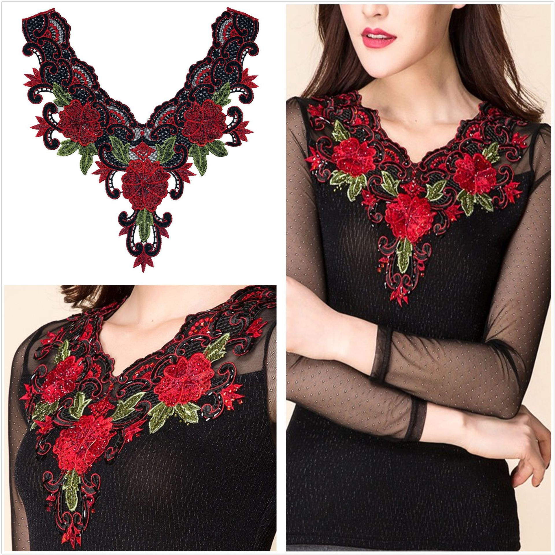Godier Fashion Motifs Neck Applique Flower Embroidery Patches Lace Fabric Diy