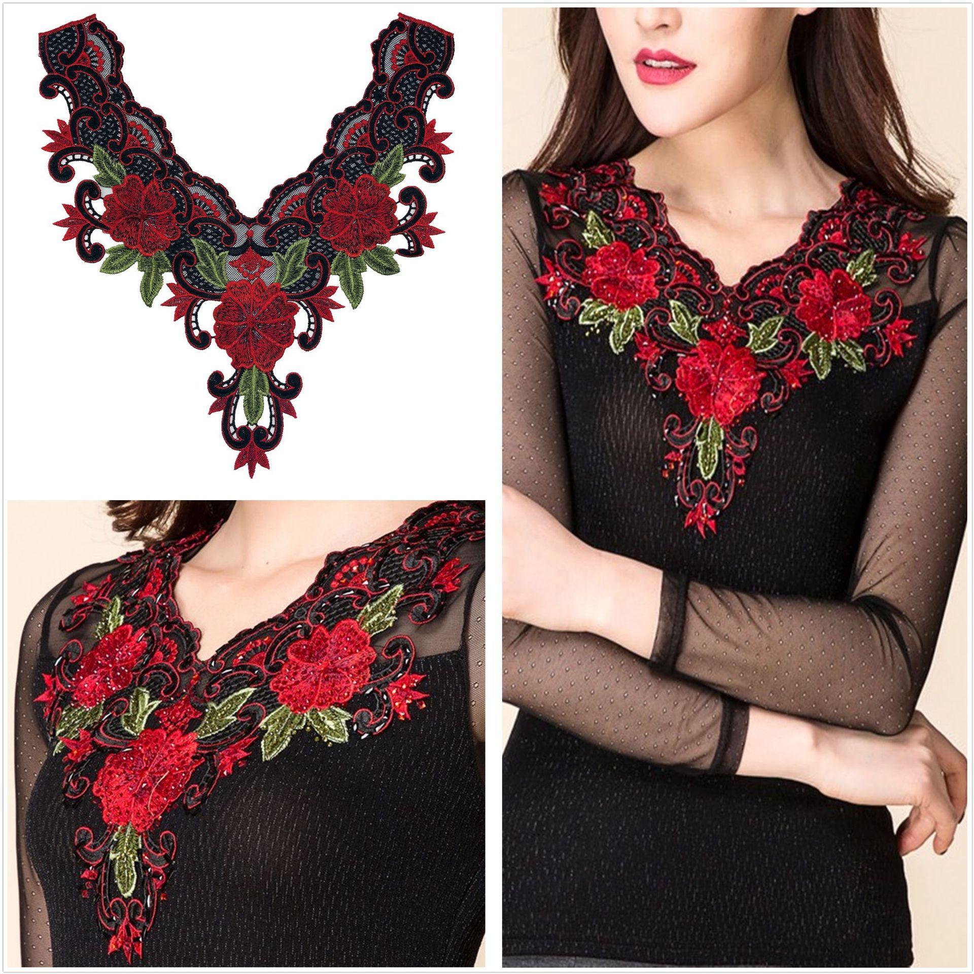Godier Fashion Motifs Neck Applique Flower Embroidery Patches Lace Fabric Diy