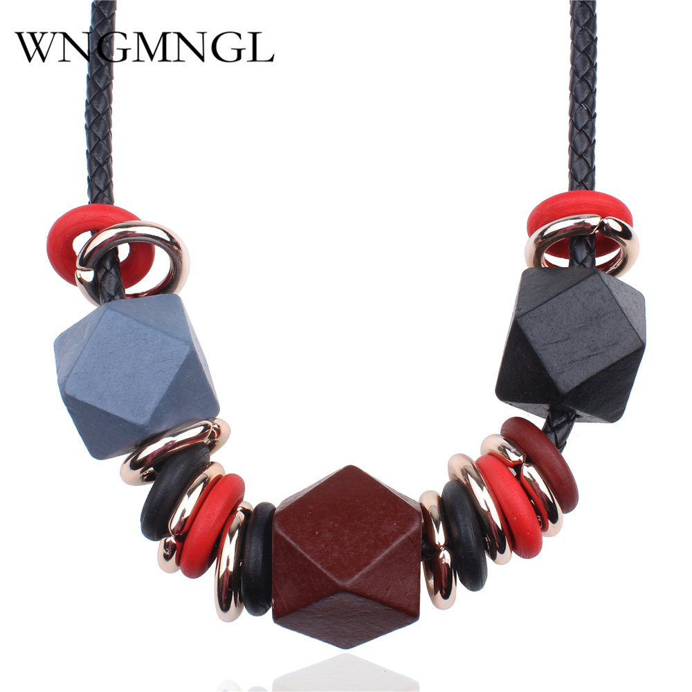 WNGMNGL New Geometric Wood Charm Pendant Maxi Necklace Women Exaggerate Jewelry Accessories Vintage Statement Collare