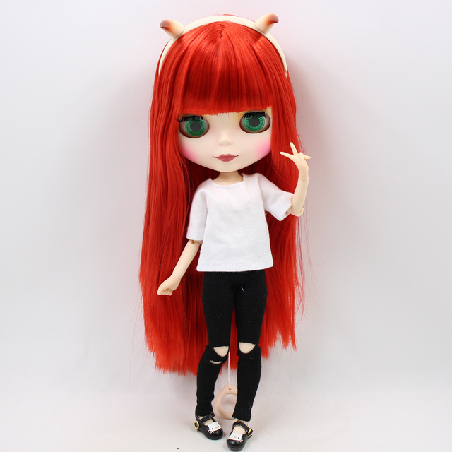 Blyth doll Combination Red Little Devil with matte face joint body,clothes,shoes,devil horn,hand set AB as gift 1/6 BJD 2