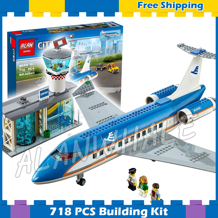 718pcs City Airport Passenger Terminal Plane Control Tower 02043 Model Building Blocks Assemble Gifts Sets Compatible With lego