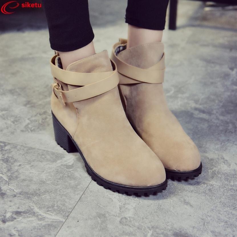 siketu Women Winter Snow Ladies Low Heel Ankle Belt Buckle Martin Boots Shoes Best Gift Wholesale