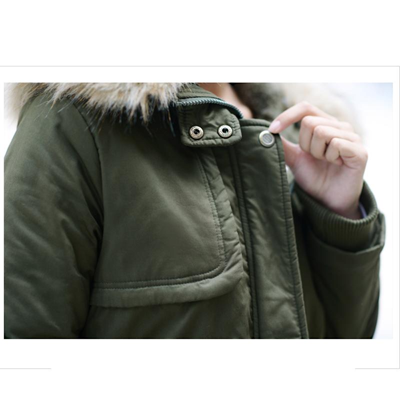 Adjustable Waist Women Parkas Big Pockets Fur Hooded Long Coats Female Outwear Cotton Warm Winter Ladies Jackets Coat MDEW541 14