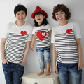 Children baby girl boys summer cotton stripes T-shirts family pack mother daughter matching clothes D803