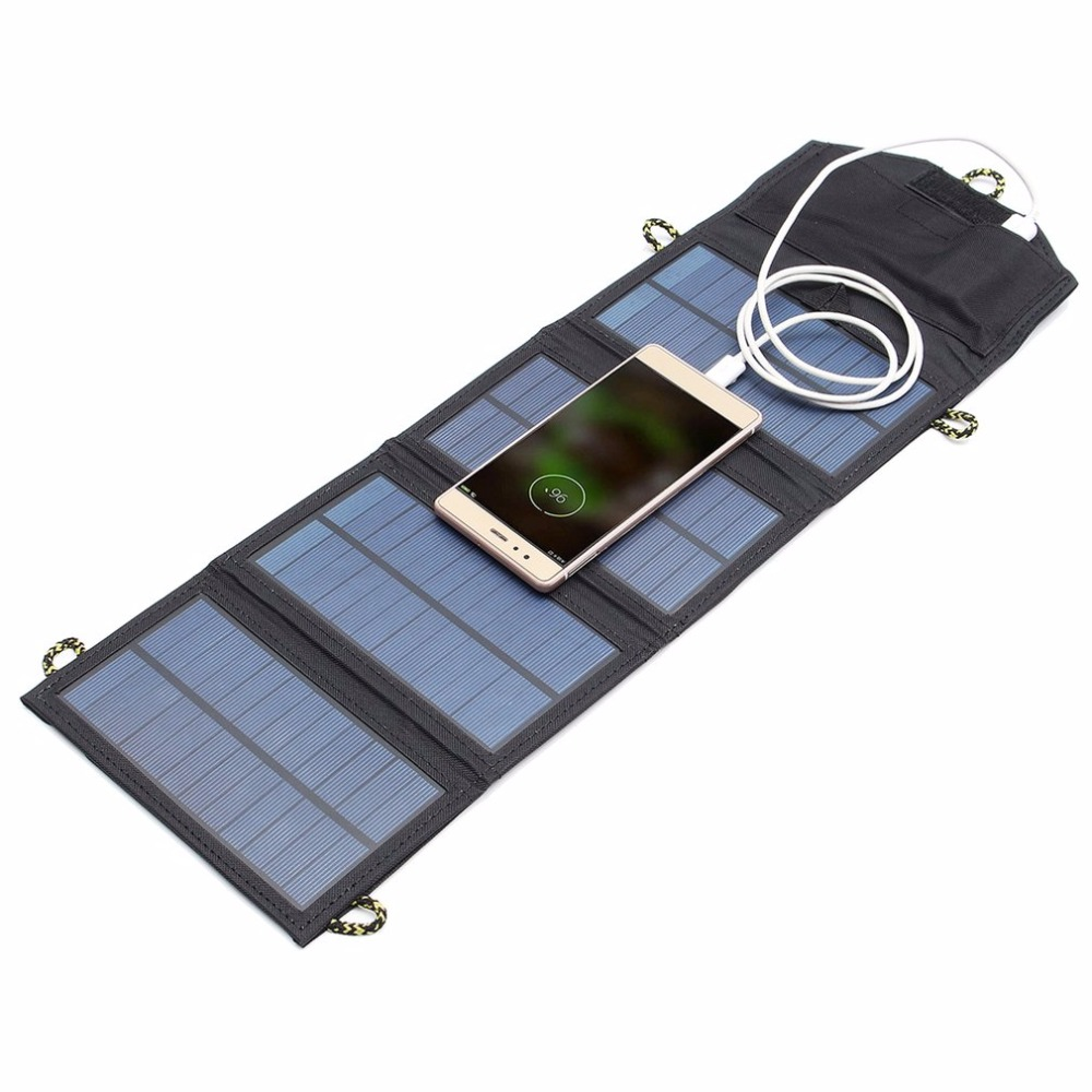 LESHP 5V 7W Folding Solar Power Panel USB Travel Camping Portable Battery Charger For Cellphone MP3 Tablet Phone Power Bank chic ellipse shape faux gem flower earrings for women