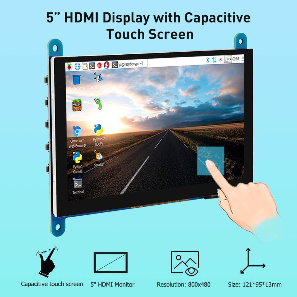 Elecrow 5 inch Touchscreen Portable Monitor <font><b>HDMI</b></font> 800 x 480 Capacitive Touch Screen LCD <font><b>Displays</b></font> <font><b>Raspberry</b></font> <font><b>Pi</b></font> 4 <font><b>Display</b></font> image