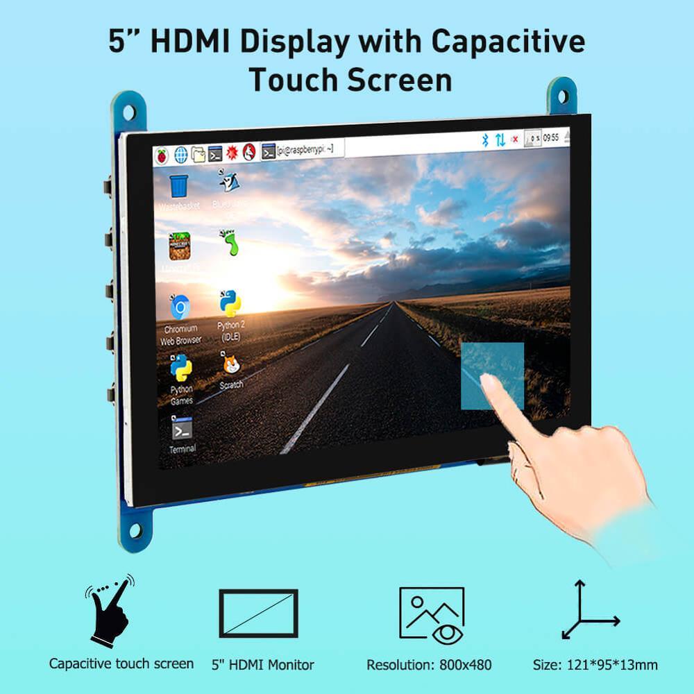 Elecrow 5 polegada monitor portátil hdmi 800x480 tela de toque capacitivo display lcd para sony ps4/raspberry pi 4 3b +/pc/banana pi