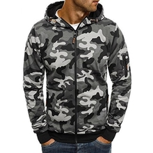 ZOGAA Mens Classic Camouflage Military Hoodie Sweatshirts Wear Spring and Autumn Casual Zipper Jackets