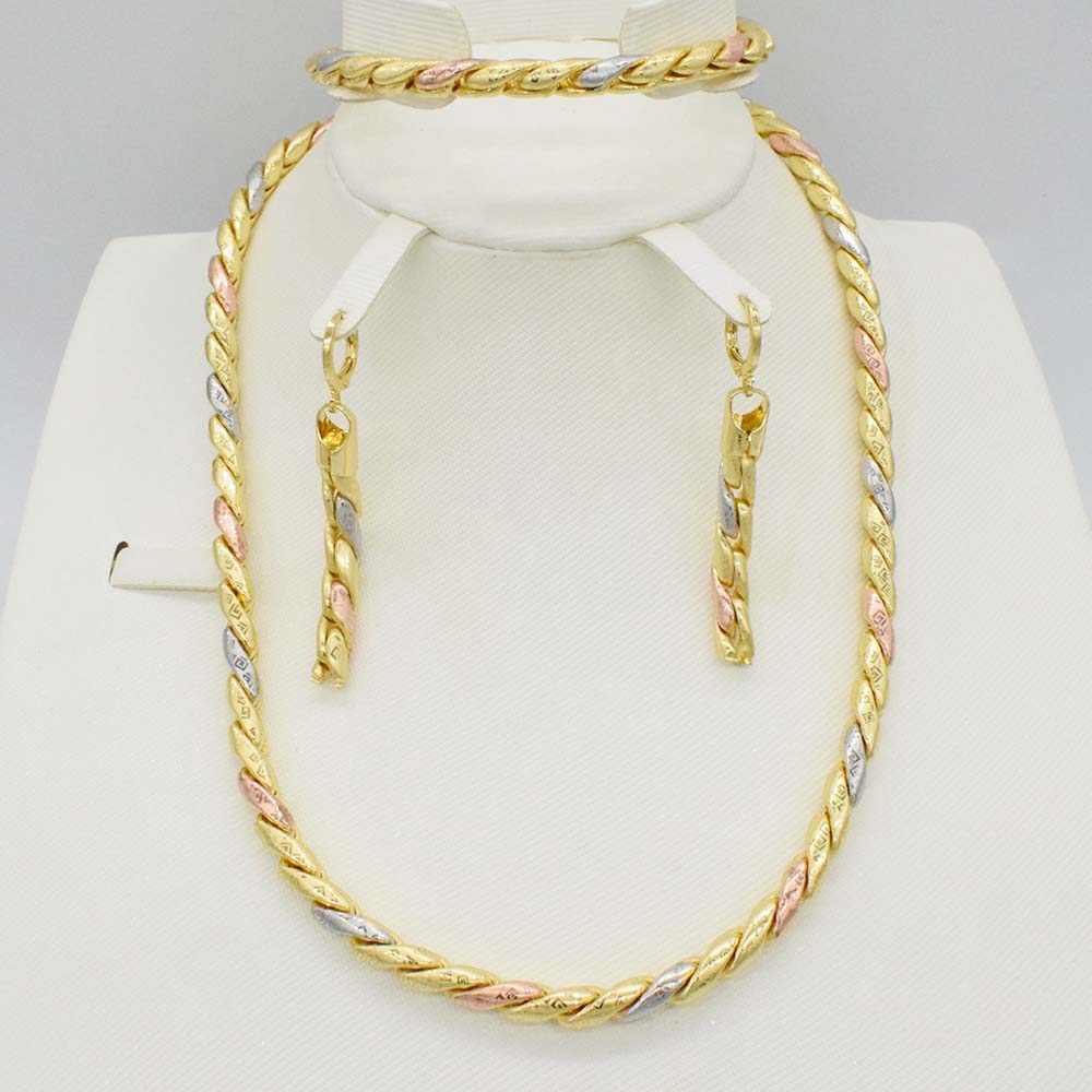 3 Tones High Quality Italy 750 Jewelry Sets Fashion Dubai gold African beads wedding jewelry  Necklace earrings Chain Bracelet