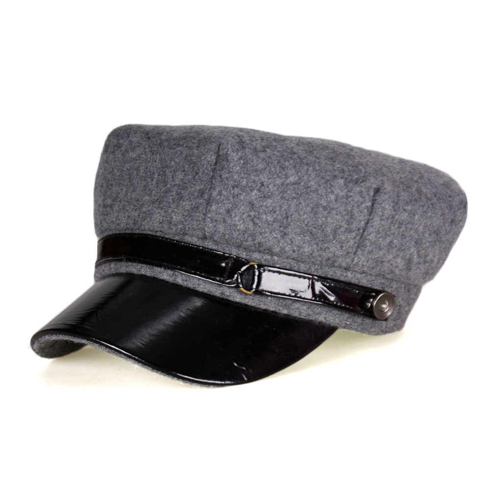 cdfeaa4407c 2017 Winter Wool Felt Military Hat Beret Cap Navy Hats Snapback Visor Black  Berets Hats for Women Men Warm Painter Flat Top Caps-in Berets from Apparel  ...