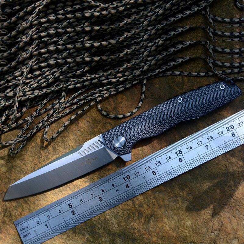 TwoSun Knives TS16G10 D2 Blade Pocket Knives Black G10 Handle with Clip Ball Bearing Folding Knives