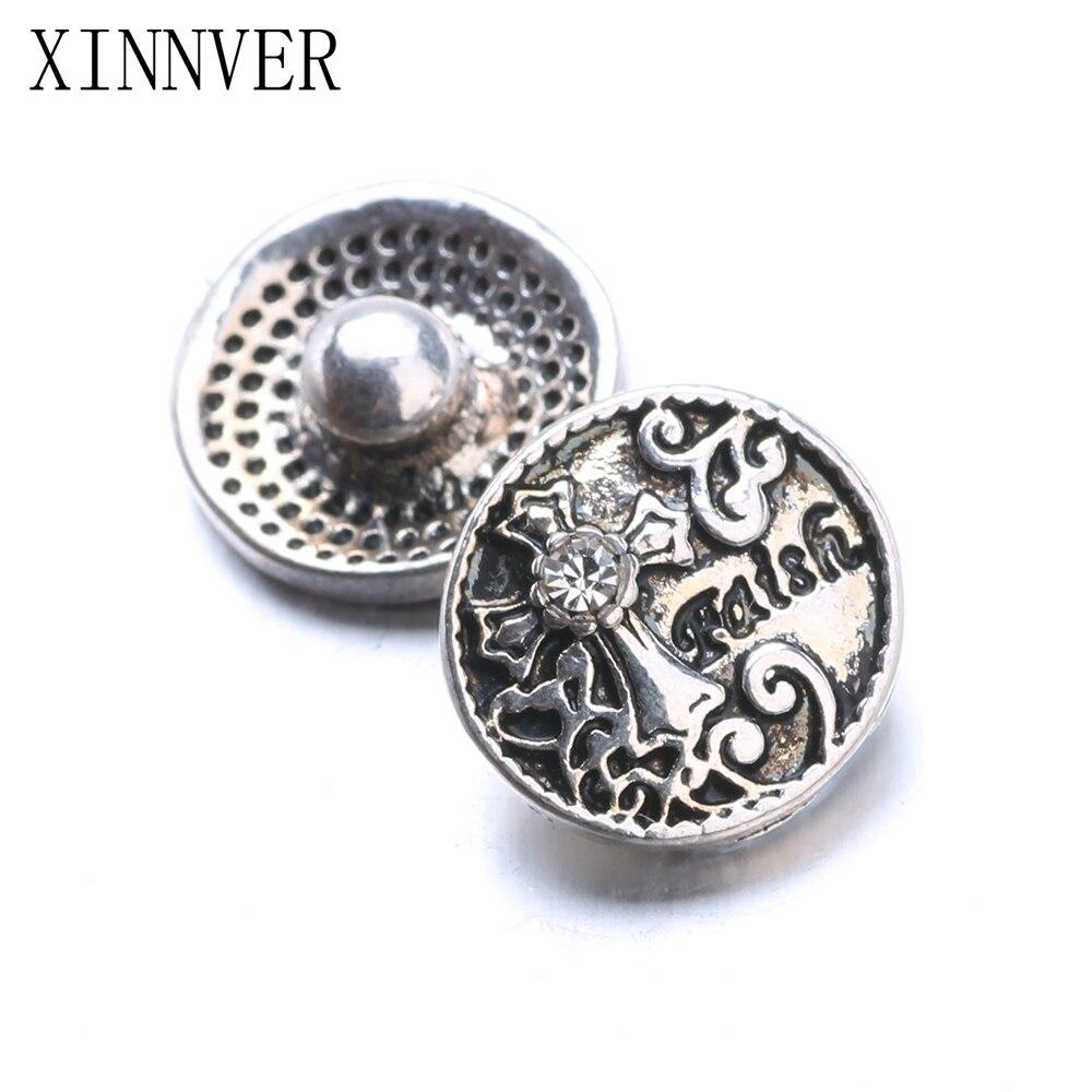 10pcs/lot Hot Sale Interchangeable Accessory Crystal Cross Xinnver Snap Fit 12mm Button Snaps Bracelet Jewelry ZL048