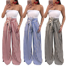 MAYFULL new quality Women casual england style wide leg pants lady striped sashes loose print long bow trousers panties brand