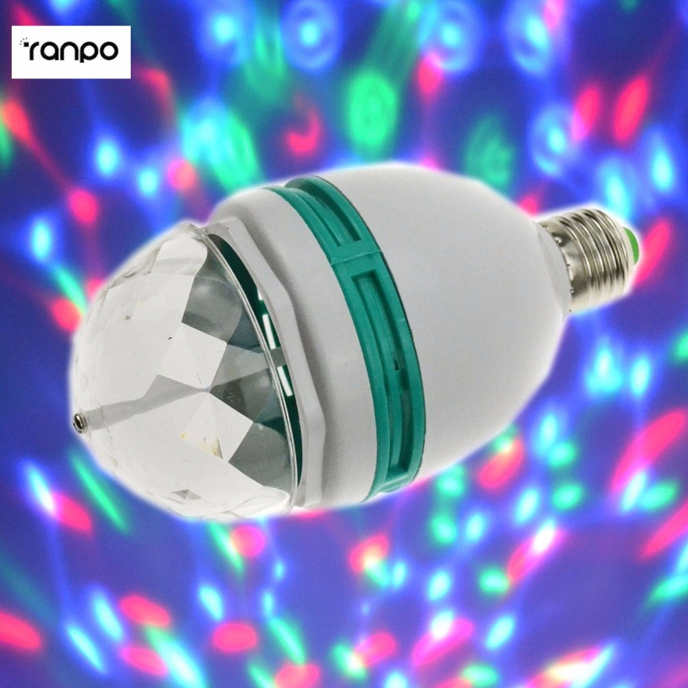 E27 3W RGB LED Spot Light Bulb Colorful Rotating high power Lamp for home Party