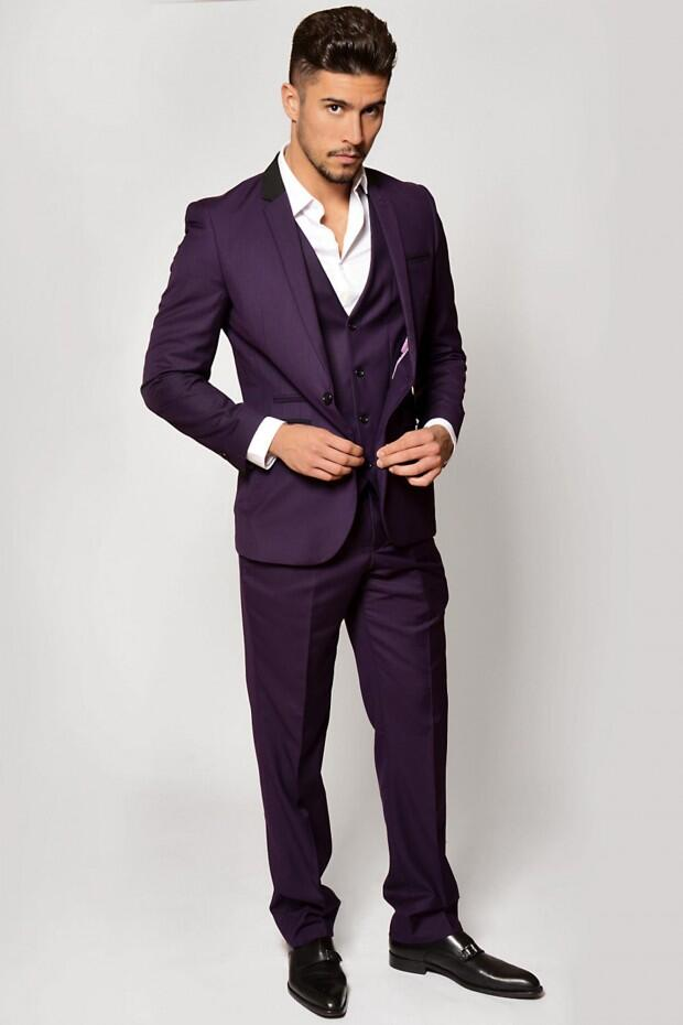 Latest Coat Pant Designs Purple Men Suit Formal Slim Fit Tuxedo Prom Simple Marriage Groom Style Blazer Jacket Custom 3 Piece LO