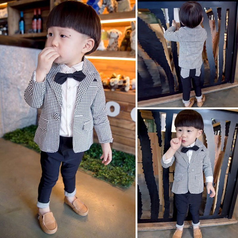 Newborn Boy Formal Clothing Set Infant Baby Spring Fashion Outerwear Clothes Suit Jacket+Pant Children's Boys Costume Cloth 2-6T