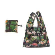 60PCS / LOT Tote Doldable Colors ECO Reusable Polyester Portable Shoulder Handbag Cartoon green Folding pouch shopping Bag