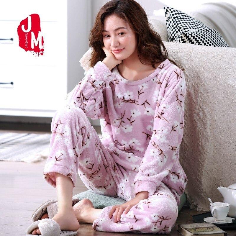 Warm   Pajamas   Female Winter Print Flannel Women   Pajamas     Set   2018 Coral Fleece Thick Pyjamas Women Long Sleep Lounge Homewear XXXL