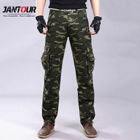 jantour 2018 New Camouflage Jeans Men military Tooling Slim Multi pocket Washed ArmyGreen gray pants Skinny militar Jeans Man