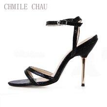 2016 New Classics Stiletto High Heel Sandals Women Summer Snake PU Open-Toe Ankle-Wrap Black Mature Non-Slip Shoe Woman 3845C-3f недорго, оригинальная цена