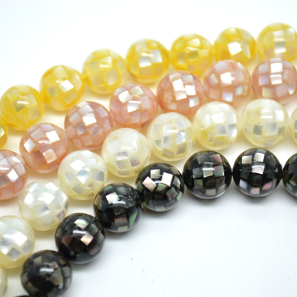 10mm 12mm 14mm Various Color Natural Small Shell Chips Glued Football Disco Round Loose Beads Fashion Jewelry Making