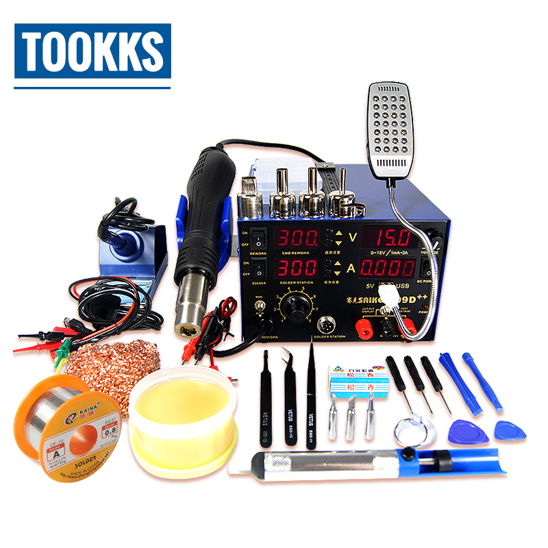 цена на Saike 909D++ 3 in 1 Soldering Station iron+Hot Air Gun+Power Supply BGA SMD Soldering Rework Station Updated from Saike 909D