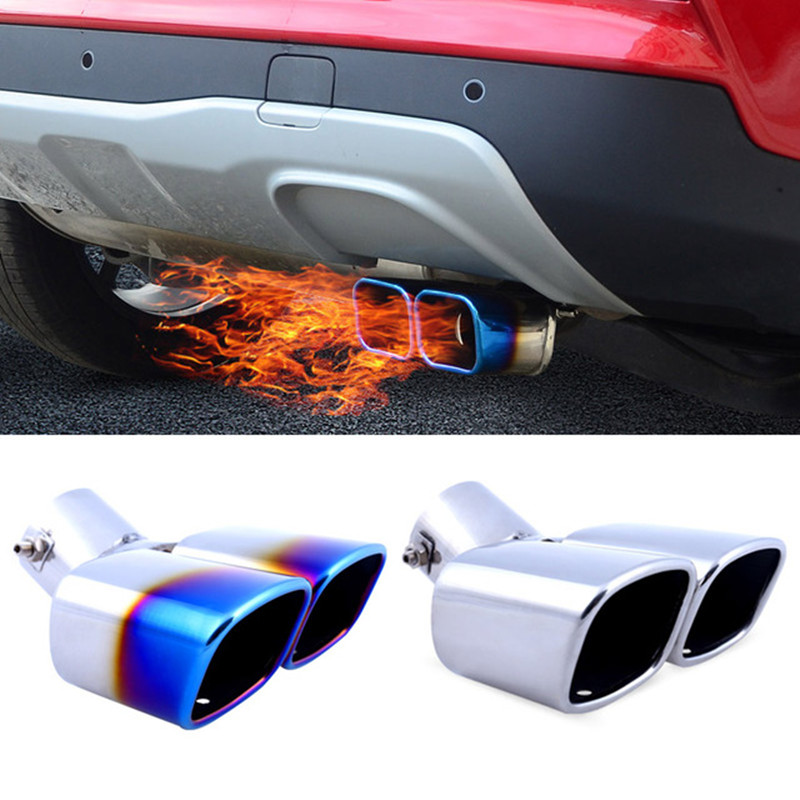 Universal Twin Double Dual Chorme CURVED Exhaust Tailpipe Tail Pipe End Trim Tip Muffler Finish Cover