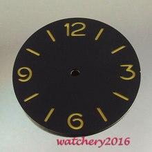 Novo 38.9mm Parnis mostrador preto amarelo oco números fit mostrador do Relógio Dos Homens Mecânicos automáticos