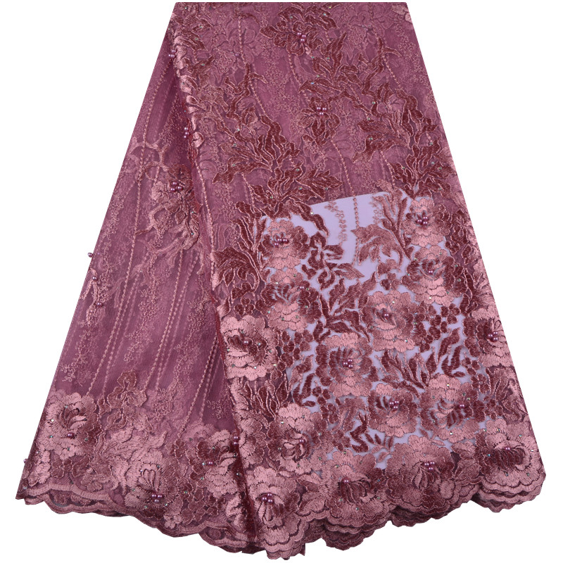 Fashion African Lace Fabric High Quality Onion Color Lace Nigerian Lce Fabric 2019 High Quality Lace