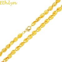 Ethlyn Main Longueur 50 CM largeur 3 MM, Nouveau Éthiopien ÉPAIS Collier Or Couleur Afrique L'érythrée Chunky Chaîne Dubai/arabe N034