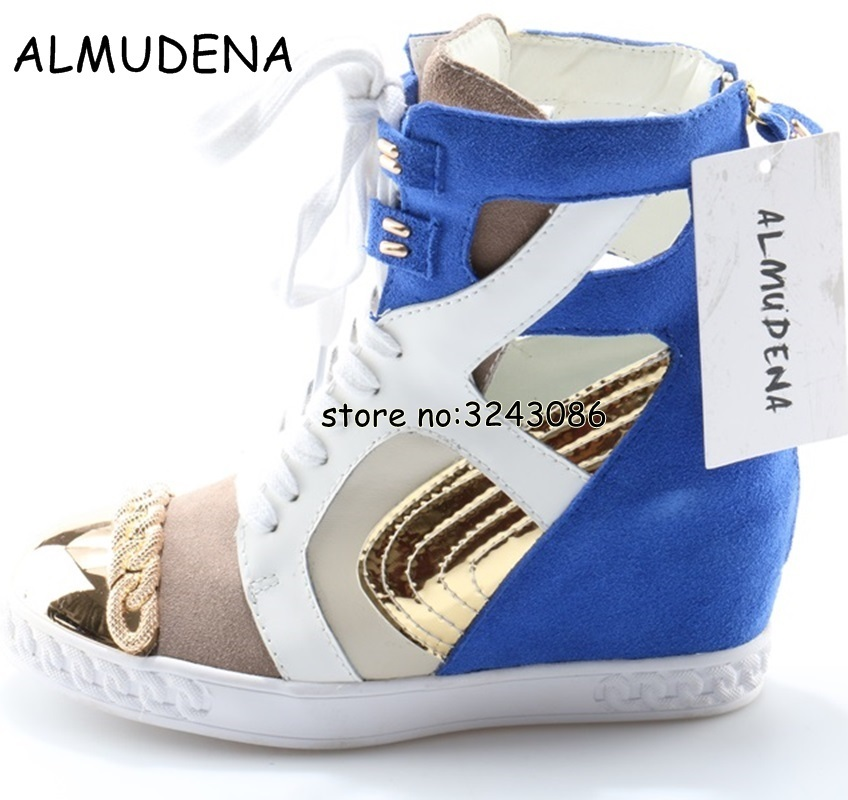 Patchwork Cut-out Metal Toe Lady Fashion Ankle Booties High Platform Lace Up Woman Sneakers Rome Style Hidden Wedge Casual Shoes все цены